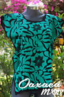 Womens Mexican Huipil Hand Embroidered Blouse Oaxaca Green Color