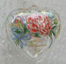 Hutschenreuther Germany Crystal Heart Ornament Rose Flower Easter Ornament