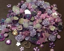 A Mixture Of 100 Pieces Of Small Purple Flatback Resin ideal for any crafts