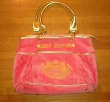 Juicy Couture Pink Velour Large Quilted Handbag w Gold Trim