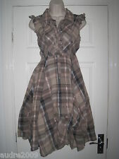 Tartan Check SELLINO Vittoriano Guerra Sposa Steam Punk Goth Lolita Hitch Vestito UK 10