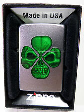 "Zippo ""Clover with skull"" - Chrome sat. - Neuf & Emballage D'origine - #634"
