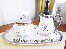 Prouna China LEAH Sugar Bowl, Creamer and Matching Tray Set  DEER  FAWN - NEW!