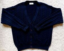 UNITED Colors of BENETTON Cardigan SWEATER Cable KNIT Blue NAVY Cotton Sz 50 Man