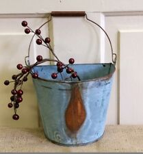 NEW Small WALL Half BUCKET Tin Rusty Basket Primitive Country Metal Flower Bin