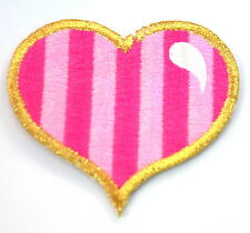 LOVE HEART PINK CANDY STRIPE Embroidered Iron Sew On Cloth Patch Badge APPLIQUE