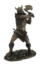 Viking Warrior Swinging and Axe Bronze Finish Statue