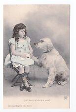 Animal CHIEN Chiens DOG dogs 35 carte fantaisie chien blanc fillette robe bleue