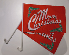 MERRY CHRISTMAS CAR WINDOW FLAG - 2 PACK NEW
