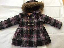 New London Fog Toddler Girls Faux Wool Coat 2T Plaid Pattern Pink Purple Black
