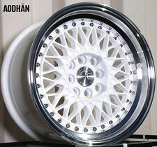 AODHAN AH05 15x8 4x100 / 4x114.3 +20 White Machined Lip (PAIR) wheels