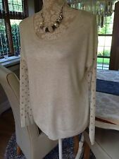 DESIGNER F&F IVORY DIAMANTÉ  FINE KNIT SWEATER JUMPER TOP 14 42 BNWT NEW