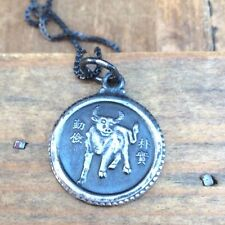 Vintage Sterling Silver Necklace Pendant BULL Taurus Astrology Chinese Symbol