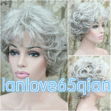 Fashion Ladies Wigs Women's Wavy short grey Mix Curly Natural Hair wig+cap