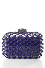 Jimmy Choo Purple Gold Tone Webbed Leather Cloud Minaudiere Evening Clutch