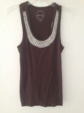 EUC INC International Concepts Womens Brown Tank Top Beaded Pearl Diamond Shirt