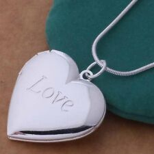 Fashion 925 Sterling Silver Plated Heart LOCKET Photo Charm Pendant Necklace