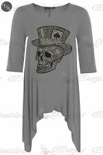 Womens Ladies Skull Ace Stud Waterfall Swing Hanky Hem Long Top Dress Plus Size