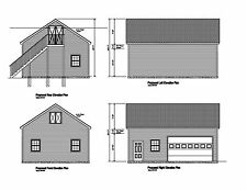 24'X32' GABLE  ROOF GARAGE PLAN 32'X24' GABLE BARN GARAGE PRINTS #2432GBL HRS