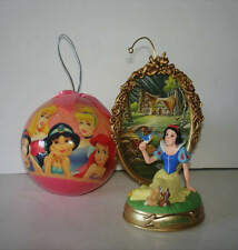 Disney Princess Christmas Ornament Lot Of 2 Snow White Belle Ariel Jasmine
