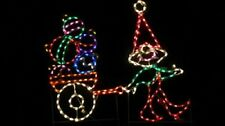 Christmas Elf with Ornament Cart Outdoor LED Lighted Decoration Steel Wireframe