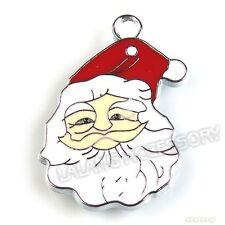 10Pcs Christmas Santa Charms Enamel Alloy Pendant Fit Necklace 34mm ON SALE LC