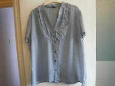 Ladies grey/cream striped  blouse S 20 by Epilogue