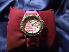 Woman's Geneva Watch with Zebra Face and Rubber Band B22-434