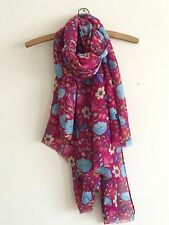 LADIES FUN BOLD RASPBERRY PINK FLORAL MIX PRINT OVERSIZED SCARF WRAP COVER UP