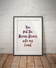 George Michael Lyrics Tribute Typography Art Print - You put the Boom Boom Heart