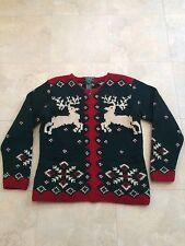 Vintage Ralph Lauren Hand Knit Reindeer Green Full Zip Sweater Small Petite