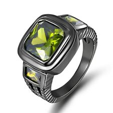 Size 11 Rare Green Peridot 10KT Black Gold Filled Anniversary Ring For Men's