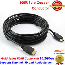Standard Long HDMI v1.4 Cable 25FT 7.6M, Yellowknife Gold Series, US Seller