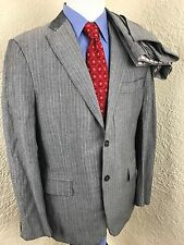 Isaia Napoli Linen Blend Gray Striped 2 Button Suit Mens 40R 37 X 33 Dual Vented