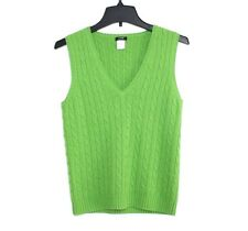 J. Crew - S - Solid Green Wool/Cashmere Blend Cable Knit Sleeveless Sweater Vest