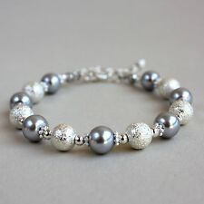 Silver stardust light grey pearls beaded bracelet party wedding bridesmaid gift