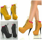 WOMENS NEW IN AUTUMN!HIGH HEEL LEATHER STYLE LACE UP ANKLE BOOTS SIZE 2-7