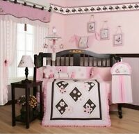 Girls Crib Bedding Pink Brown Butterfly 13 Pc Set Baby Infant Quilt Nursery NEW