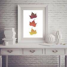 Three Autumn Fall Leaves Leaf Red Orange Yellow Counted Cross Stitch Pattern