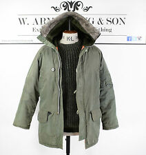 Men's Khaki Green Hooded Parka Long Brit Pop Military 60's Style MOD Coat UK M