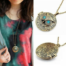 Fashion Vintage Jewelry Owl Memory Locket Pendant Long Chain Necklace For Women