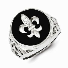 MENS STERLING SILVER BLACK ONYX WITH CZ ACCENTS FLEUR DE LIS RING - SIZE 11