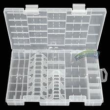 AAA AA C D 9V 18650 Battery Storage Case Holder Hard Plastic Box Organiser White