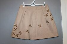 Leifnotes Anthropologie Mini Migration Sequined Bird Metallic Mini Skirt 0