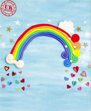 SKY RAINBOW BABY HEART BLUE BACKDROP BACKGROUND VINYL PHOTO PROP 7X5FT 220X150CM
