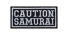 Caution Samurai Biker Heavy Rocker Patch Aufnäher Bügelbild Kutte Badge Stick