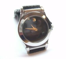 LADIES STAINLESS STEEL MOVADO BLACK DIAL MUSEUM SWISS STRAP WATCH 84-A1-838K