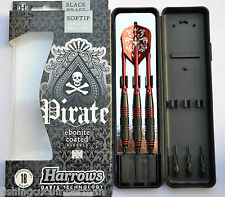 HARROWS PIRATE EBONITE COATED RED RINGED BRASS SOFT TIP DARTS 18g