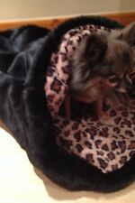 CHIHUAHUA PUG PUPPY CAT BED BLACK FAUX FUR ANIMAL PRINT FLEECE SNUGGLE SACK