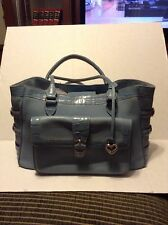 "Brighton blue leather braided straps  shoulder tote handbag LARGE 8""""x13""x5"""